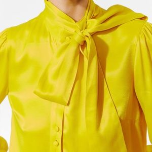 Zara Yellow Silk Top Bow Tie Collar